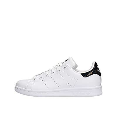 adidas Originals Stan Smith J White/Black Holographic Leather 4.5 M US Big Kid