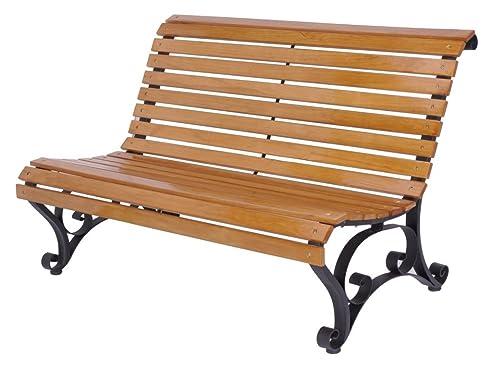 Gartenbank holz metall  Amazon.de: Gartenbank Holz/Metall X250 vorne abgerundet 122x87 cm ...