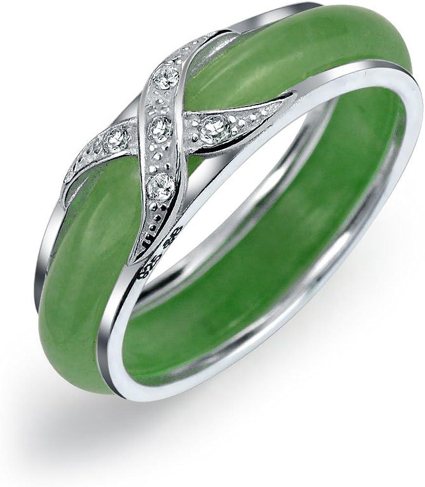 Pavimentar CZ Cruzado Zirconia Cúbico X Beso Teñido De Verde Jade Anillo De Banda Para La Mujer Para Novia 925