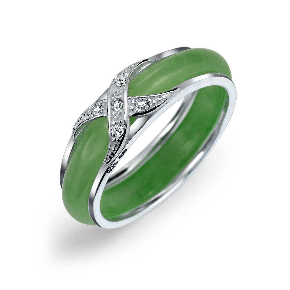 Bling Jewelry 925 Sterling Silver Jade Cubic Zirconia Crossover Motif Band,Green,6