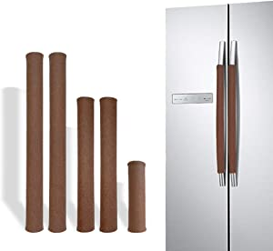 Hiili & Kaala Refrigerator Door Handle Covers 5 Pieces Handmade Decor for Kitchen Appliances Keep It Clean to Prevent Water Droplets and Food Stains (Brown)