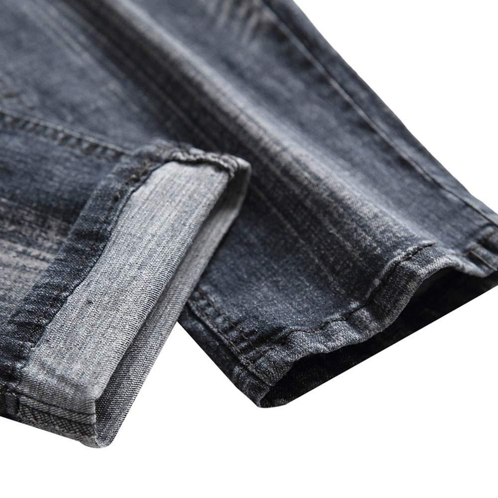 Cinhent Pants Autumn Denim Zipper Fly Straight Ripped Hole Trousers Men Jean