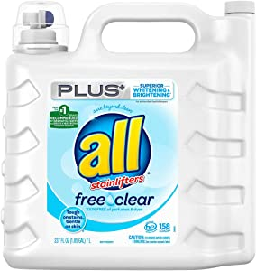 All Free & Clear Plus+ #1 Recommended with Whitening/Brightening Stainlifters HE Liquid Laundry Detergent - 158 Loads (1.85 GAL)