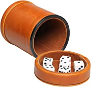 RERIVER Leatherette Dice Cup with Lid Includes 6 Dices, Velvet Interior Quiet in Shaking for Liars Dice Farkle Yahtzee Board