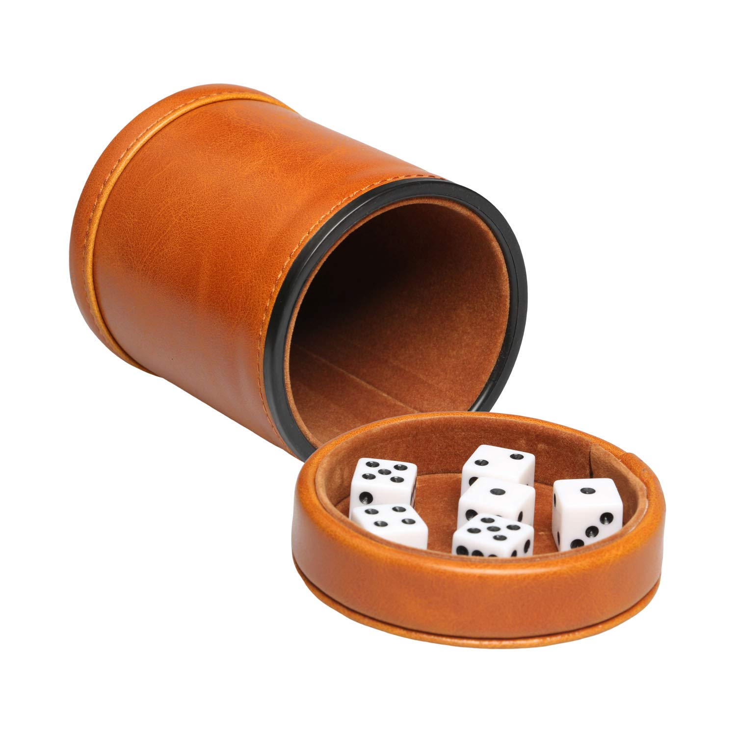 RERIVER Leatherette Dice Cup with Lid Includes 6 Dices, Velvet Interior Quiet in Shaking for Liars Dice Farkle Yahtzee Board Games, Brown by RERIVER