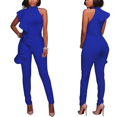 da408bd8610 Lanxirui Women Ruffles Slanted One Shoulder Sleeveless Jumpsuit - Blue -   Amazon.co.uk  Clothing