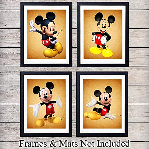 Mickey Mouse Wall Art Print - Set of Four (8X10) Vintage Unframed Photos - Perfect Gift For Disney Fans, Great For Home Decor