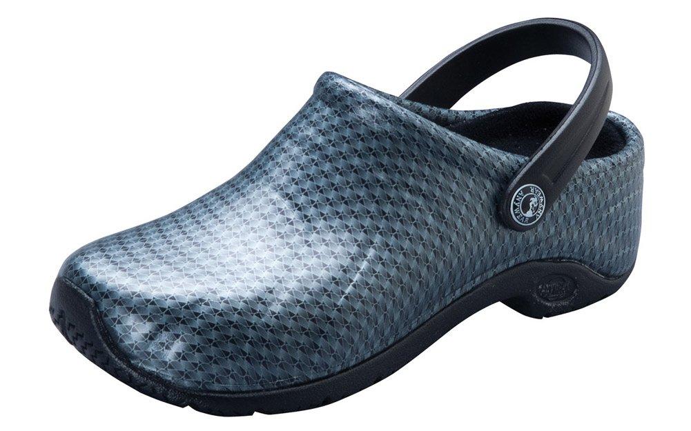 Anywear Women's Zone Work Shoe, Black Silver Pattern, 8 M US