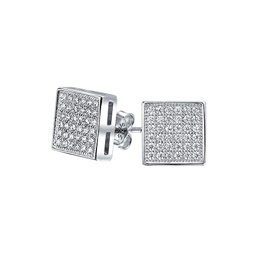fc4facf8989a3 Geometric Square Shaped Cubic Zirconia Micro Pave CZ Stud Earrings For Men  For Women 925 Sterling Silver 8MM