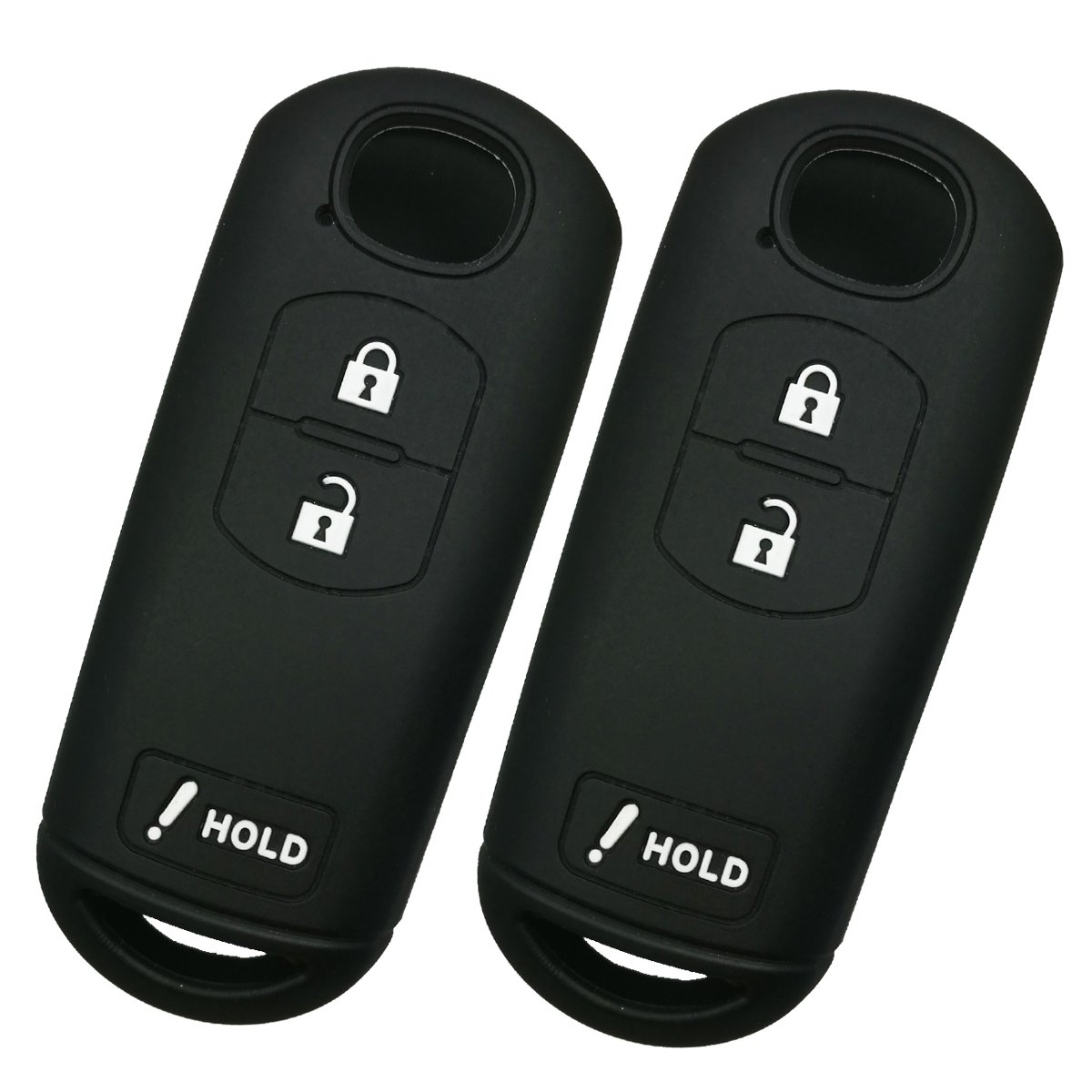 Alegender ゴム 車のキー フォブカバー ケース リモコンホルダー 3ボタン スマート キーレス エントリー リモート Mazda 3 CX3 CX5 CX7 CX9 SPEED3 WAZSKE13D01 B071HVYV55 2点ブラック 2点ブラック