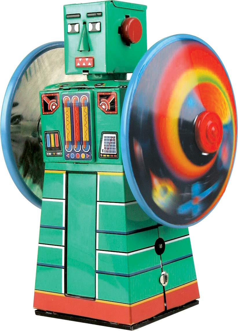 Schylling Tin Plate Robot - Wheel Action Wind Up Toy