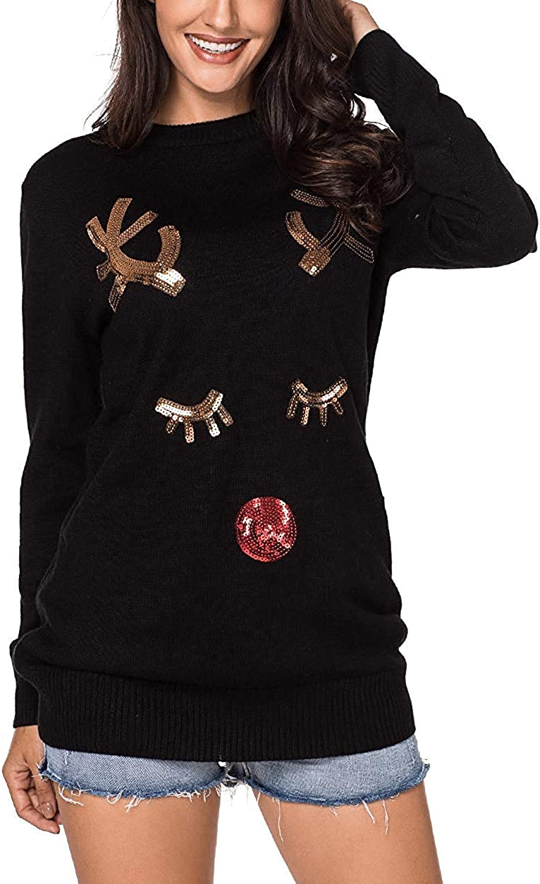 dsffsdg Womens/&Ladies/&Teen Girls Fashion Crew Neck Knitted Holiday Pullover Christmas Reindeer Sweater Sports Pullove