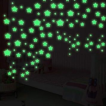 Blue 30pcs Kids Bedroom Fluorescent Glow in The Dark Stars Wall Art Stickers DIY Wall Decal Green Luminous Wall Sticker Murals for Living Room Teens Children Baby Room Nursery Decoration
