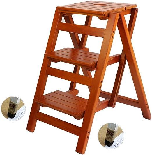 Taburete de Escalera de Madera Maciza Casa Plegable Escalera multifunción Pedal de Escalera Interior Taburete de 3 Pasos para la Cocina en casa Oficina Jardín Herramientas de Escalada: Amazon.es: Hogar