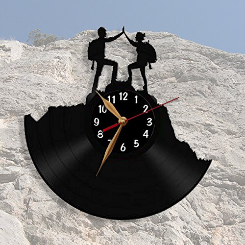 Conquerors of Peaks, Rock Climbers Vinyl Record Wall Clock 12inch(30cm), Hiking, Hiker / Modern, Black Wall Art Decor Laser cut of Vintage Vinyl Record