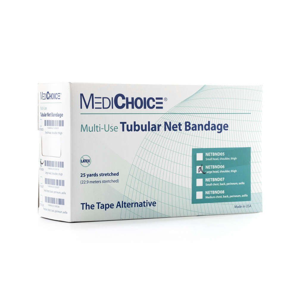 MediChoice Tubular Bandages, Net Stretch, Elastic And Polyester, White, Fits Large Head Shoulder Thigh, Size 6, 25 Yards (Case of 10) by MediChoice (Image #3)