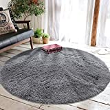 Super Soft Area Rug, Daluo New Arrivl Thick Anti-Skid Fluffy Round Children Area Rug for Living Room Bedroom Kids Room Nursery, 4-Feet (Grey)