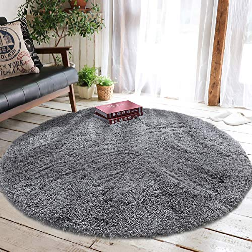 Junovo Round Fluffy Soft Area Rugs for Kids Girls Room Princess Castle Plush Shaggy Carpet Baby Room Decor, Diameter 4ft Grey -