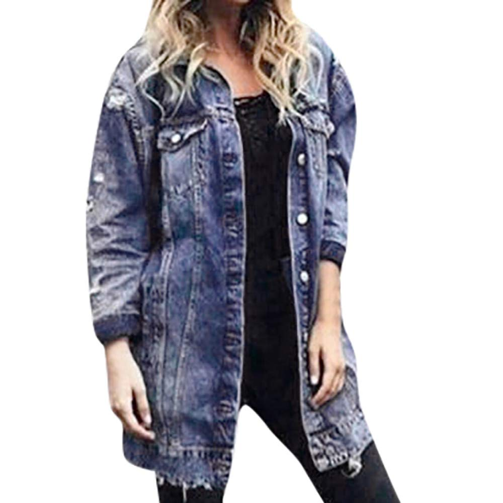 Faionny Women Ripped Denim Jacket Long Denim Coat Long Sleeve Denim Windbreaker Jeans Overcoat Autumn Outerwear