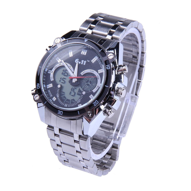 多機能メンズアナログデジタルLCDブラックダイヤルステンレススチールスポーツバックライト腕時計 B00LXPOWRI