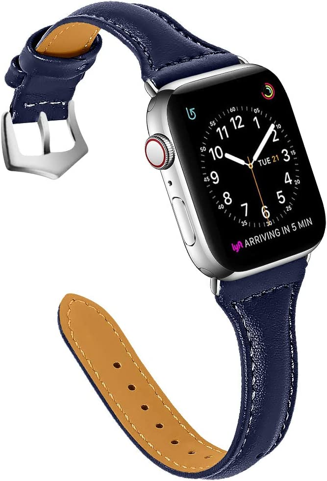 OULUCCI Leather Bands Compatible with Apple Watch 38mm 40mm,Top Grain Leather Band Slim & Comfortable Wristband for iWatch SE& Series 6/5/4/3/2/1