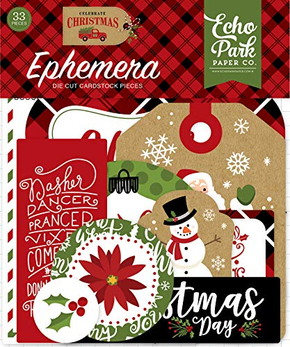 Echo Park Paper Company CCH159024 Celebrate Christmas Ephemera, Red, Green, Tan, Burlap, Black