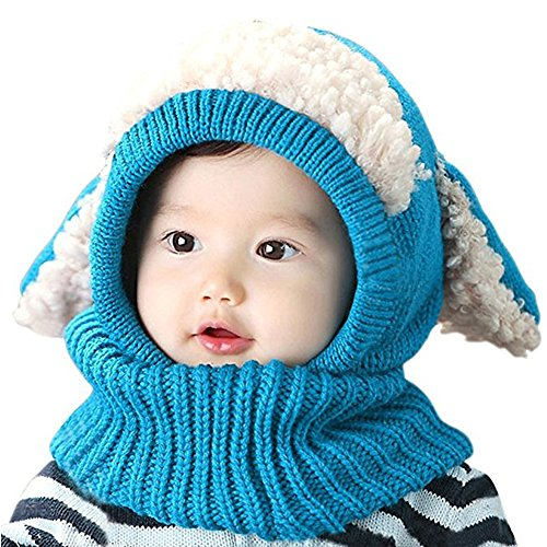 ALABAR Winter Beanies Warm Hooded Scarf Earflap Knitted Hat For Baby Girls Boys (Blue)