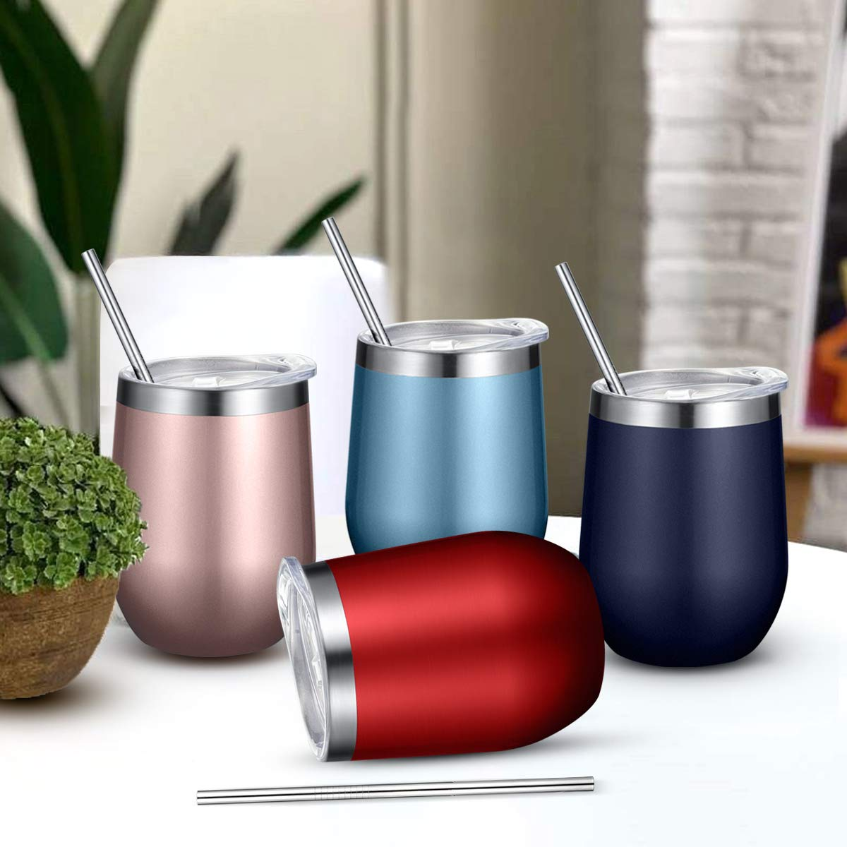 Fungun 8 Pack 12 oz Rose gold Stainless Steel Stemless Wine Glass Tumbler Double Wall Vacuum Insulated Wine Tumbler with Straws for Wine, Coffee, Drinks, Cocktails, Champagne by Fungun (Image #4)