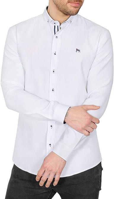 Bewley & Ritch - Camisa Casual - Cuello Italiano - Manga Larga - para Hombre Blanco Blanco L: Amazon.es: Ropa y accesorios