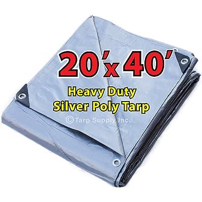 20'X40' Super Heavy Duty Silver Poly Tarp: Home & Kitchen