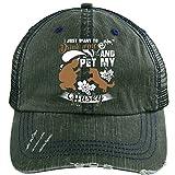 I Love My Husky Hat, I Pet My Husky Trucker Cap (Trucker Cap - Dark Green)
