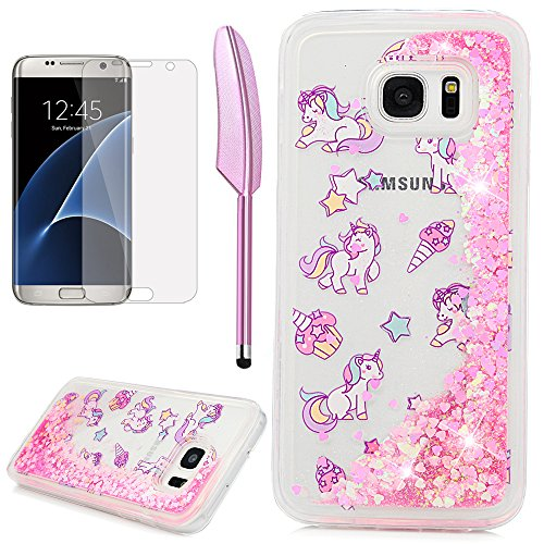 S7 Edge Case, Galaxy S7 Edge Case, ZSTVIVA Liquid Glitter Case Bling Sparkle Flowing Moving Pink Love Heart Cover Clear Slim Protective TPU Bumper with Screen Protector Pen - Cute Unicorn Ice Cream -