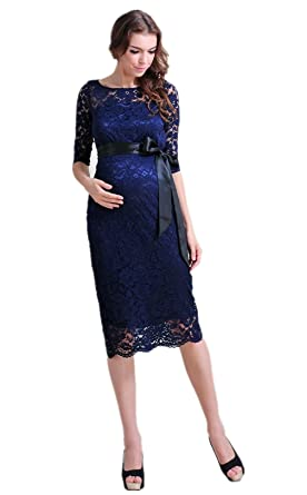 Maternity Evening Dress Maternity Gown Lace Blue Knee Length Baby