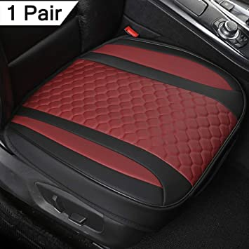 Black Panther 1 Pair Luxury PU Leather Car Seat Covers Protectors for Front Seats (Bottom),Compatible with 90% Vehicles, Black and Burgundy (21.26×20.86 Inches)