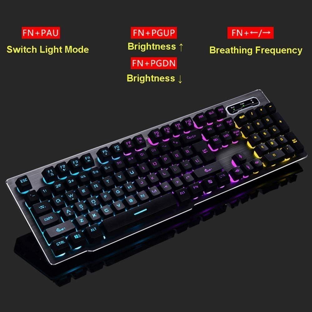 HourenJP Cordless Keyboard with Back Lighting for Office Work Color : Black Beautiful Lighted Background USB Nano Gaming Optical Ergonomic Membrane Keyboard