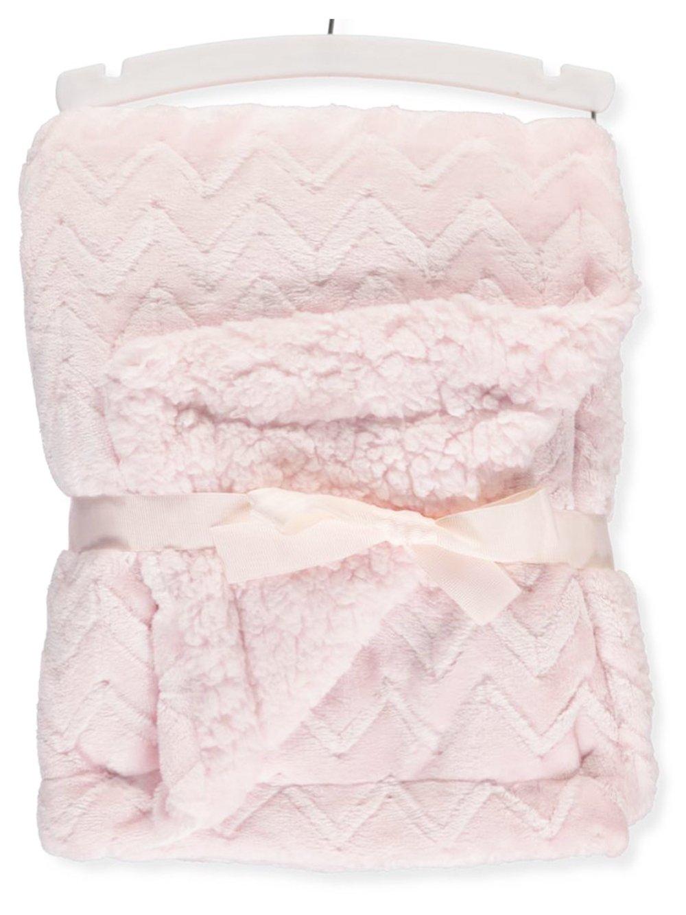 Petit Monde Plush Chevron Blanket - pink, one size
