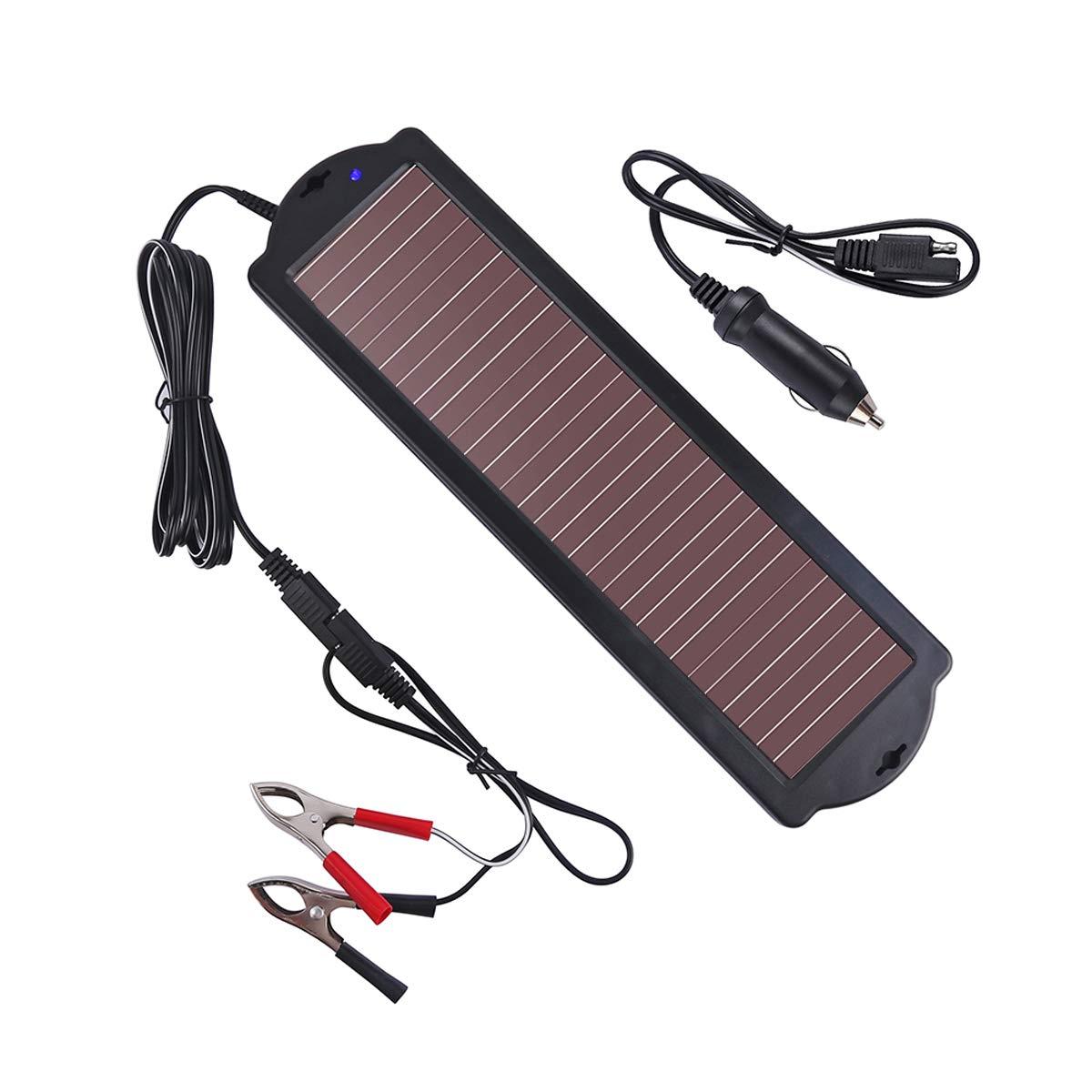 1.5 Vatios Betop-camp Paquete de Cargador de Bater/ía para Autom/óvil con Energ/ía Solar Negro Enchufe para Encendedor de Cigarrillos y L/ínea de Carga para Cargar la Bater/ía