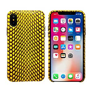 "Luxury Case for iPhone X / iPhone 10 (5.8"") Hand Made from Genuine Cobra Leather Premium Case by LUXSUISH (Cobra Edition - Yellow)"