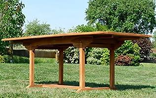 ASS JAV - Juego de Mesa y 2 Bancos (Mesa Extensible de 150-210 cm x 90 cm, Madera de Teca): Amazon.es: Jardín