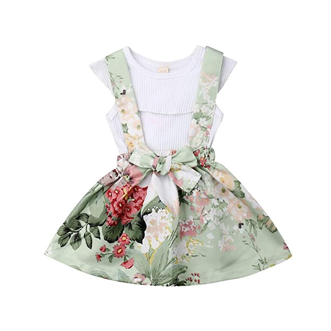12f79e3020b Amazon.com  2Pcs Set Infant Toddler Baby Girl Summer Outfits T-Shirts Tops+ Floral Suspender Skirt Overalls Set 6M-4T  Clothing