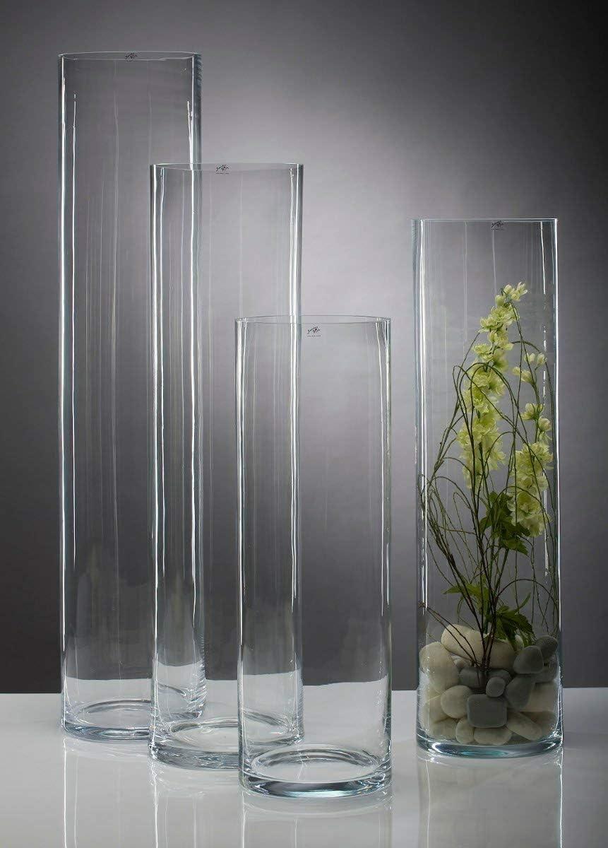 CRISTALICA Florero De Cristal Florero Decorativo Florero Redondo Cristal Transparente Altura 60Cm