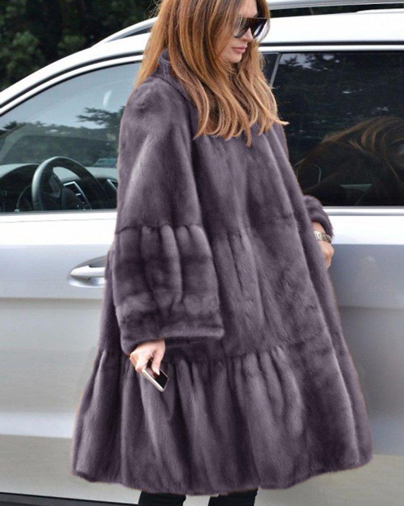 Aofur Luxury Faux Fur Parka Coat Long Lapel Trech Jacket Winter Outerwear Warm Overcoat Women Size S-XXXL (Medium, Grey) by Aofur (Image #7)