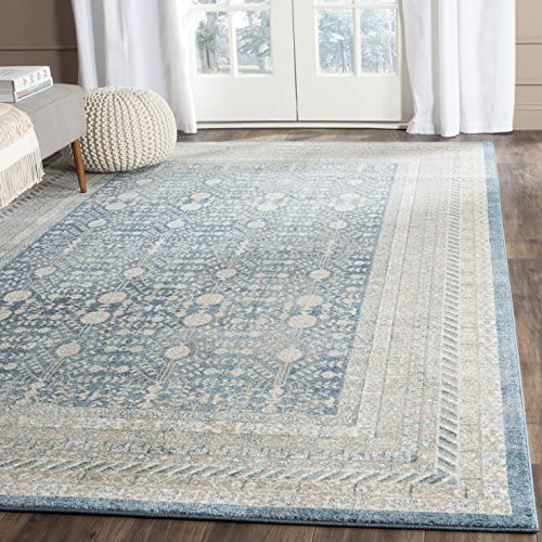 Safavieh Sofia Collection SOF376C Vintage Blue and Beige Distressed Area Rug 8 x 10