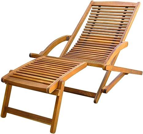 vidaXL Chaise avec Repose Pieds en Bois d'Acacia Chaise Longue de Jardin