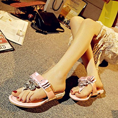 AJUNR Moda base mujer Zapatos 35 y Sandalias dulce Transpirable clips rosa zapatillas de una con elegante plana pajarita 37 qPYdrwq