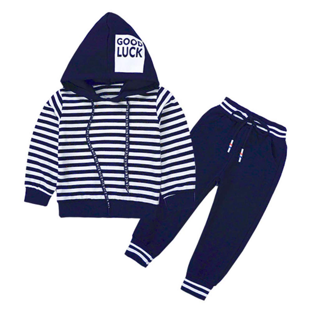 Hotiary Autumn Long Sleeve Tracksuit Outfit Stripe Hoodie Sweatshirt Tops+Pants 2-Piece Set for Children Boy Blue by Hotiary