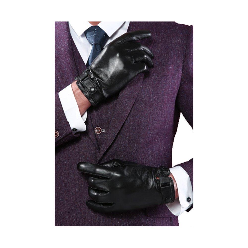 YANXH Touch Screen Genuine Leather Gloves Business Men Soft Keep Warm Gloves , sp14 black