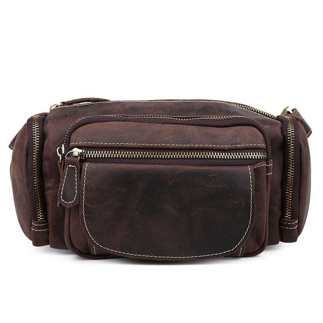 人民の東の道 本革ファニーパックブラウンウエストバッグ旅行ハイキングバンプバッグ、クロスボディバッグ (色 : Dark brown) B07T6F7985 Dark brown