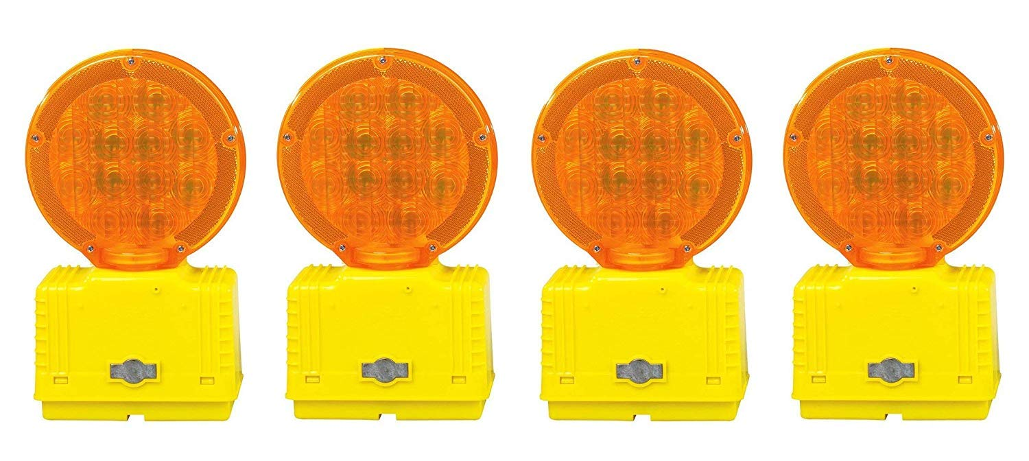 Cortina 03-10-3WAY6V Polycarbonate Incandescent Barricade Light with Photocell, 6 VDC, Amber (Pack of 4)