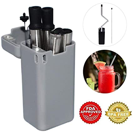 Folding Drinking Straw Stainless Steel, Collapsible Straw Keychain,  Eco-Friendly Portable Reusable Straws with Cleaning Brush Hard Case Holder,